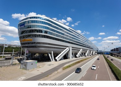 FRANKFURT, GERMANY - JULY 26: Futuristic office building with a train station in the underground at the Frankfurt International Airport (FRA). July 26, 2015 in Frankfurt Main, Germany