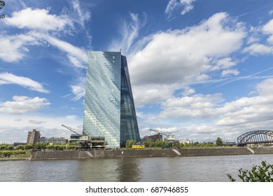 FRANKFURT, GERMANY - JULY 29, 2017: panoramic view to skyline of Frankfurt with ECB building and skyline. ECB was inaugurated in 2015 with demonstrations.  Actual head of ECB is Mario Draghi.