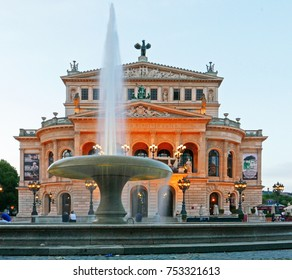 FRANKFURT, GERMANY - July 30, 2017: View of Alte Oper in Frankfurt/Main, the Old Opera House with fountain in the early evening