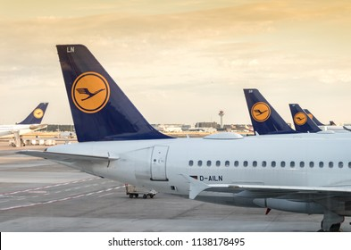 Frankfurt, Germany - July 3th, 2018: View of the tail wings back of a group of Lufhansa Airplanes at Frankfurt Airport.