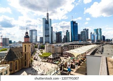 FRANKFURT, GERMANY - JULY 9, 2014: Aerial view of Frankfurt with Hauptwachen on July 9, 2014 in Frankfurt, Germany