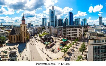 FRANKFURT, GERMANY - JULY 9: Aerial view of Frankfurt with Hauptwachen on July 9, 2014 in Frankfurt, Germany