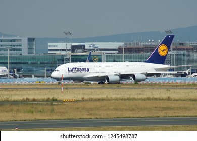 FRANKFURT, GERMANY - JUN 09th, 2017: Lufthansa Airbus A380 (MSN 66 - D-AIMF) aircraft taxiing on the airport. A380 is the flagship of Lufthansa airplane fleet