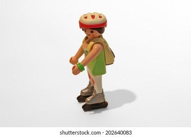 Frankfurt, Germany - June 15, 2014: Playmobil figure of an inline skating woman.