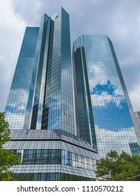 Frankfurt, Germany, June 2018: German Bank (in German Deutsche Bank) headquarter skyscraper in the central business district of Frankfurt am Main. Frankfurt is the largest financial centre in Europe.