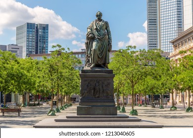 Frankfurt, Germany, June 3rd - 2018, Monument of Johann Wolfgang von Goethe at the Goetheplatz in Frankfurt downtown.