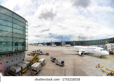 Frankfurt, Germany - June 8, 2020: lufthansa aircrafts stay at the boarding finger at the airport in Frankfurt due to Corona shutdown.