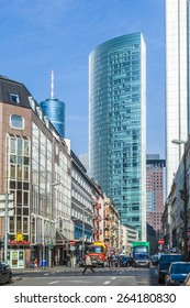 FRANKFURT, GERMANY- MAR 25, 2015: Frankfurt am Main street in Frankfurt, Germany. It's the largest city in the German state of Hessen and the fifth-largest city in Germany