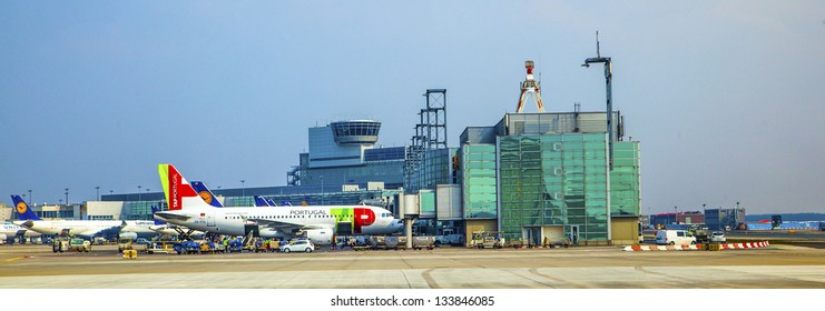 FRANKFURT, GERMANY - MAR 28: TAP Flight ready to head to runway on March 28, 2013 in Frankfurt, Germany. New Terminal A is under construction for airport enlargement,