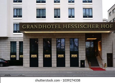 FRANKFURT, GERMANY - MARCH 02: The noble and gold-decorated entrance facade of the Grand Hotel Hessischer Hof a 5-star luxury hotel on March 02, 2018 in Frankfurt.