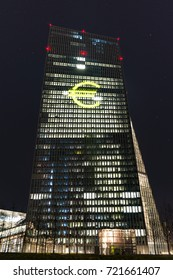 """Frankfurt, Germany - March 13, 2016: The ECB (EZB) in Frankfurt with a special illumination during the """"Light and Building Fair"""""""