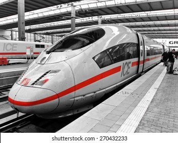 Frankfurt, Germany - March 17, 2011: Intercity Express (ICE) train of Deutsche Bahn in the Frankfurt central station in Frankfurt on March 17, 2011.
