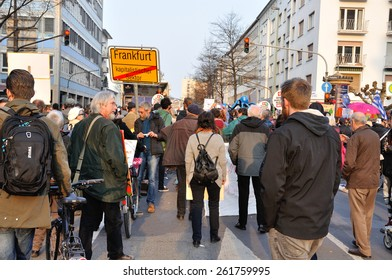 FRANKFURT, GERMANY - MARCH 18, 2015: Crowds of protesters, Demonstration Blockupy