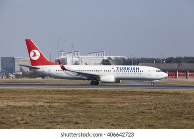 FRANKFURT, GERMANY - MARCH, 18. The Turkish AIrlines Boeing 737-8F2 with identification TC-JFV takes off at Frankfurt International Airport (Germany, FRA) on March 18, 2016.