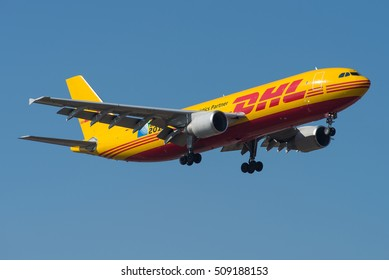 FRANKFURT / GERMANY - MARCH 2016 EAT Leipzig Airbus A300B4-622R(F), D-AEAC, cn 602 on a DHL cargo flight approaching Frankfurts runway 07L. Wearing special Rugby Worldcup 2015 sticker.