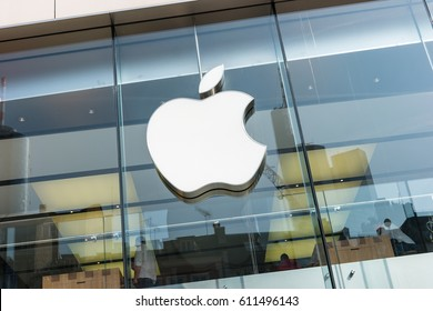 FRANKFURT, GERMANY MARCH, 2017: Apple Logo closeup. Apple is the multinational technology company headquartered in Cupertino, California and sells consumer electronics products.