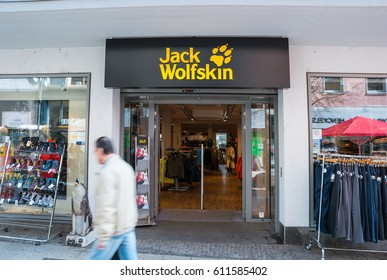 FRANKFURT, GERMANY MARCH, 2017: Jack Wolfskin store. Jack Wolfskin is a major German producer of outdoor wear and equipment headquartered in Idstein. It was founded in 1981.