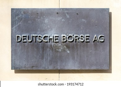 FRANKFURT, GERMANY - MARCH 29, 2014: sign deutsche Bourse AG - German stock exchange in front of stock exchange in Frankfurt, Germany. Frankfurt Stock exchange is the most important in Germany.