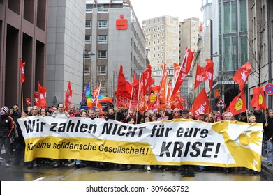 Frankfurt, Germany - March 3, 2009 - Protest march in Frankfurt am Main Germany during euro crisis with Deutsche Bank towers