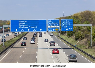 Frankfurt, Germany - March 30, 2017: Traffic on the autobahn A5 - highway number 5 - near the city of Frankfurt Main, Germany