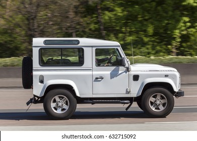 Frankfurt, Germany - March 30, 2017: Land Rover Defender 90 driving on the highway in Germany