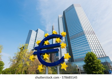 Frankfurt, Germany - May 1, 2016: Euro sign in Frankfurt am Main, Germany. Frankfurt is the largest city in the Germany state of Hesse.