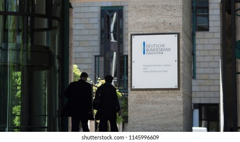 FRANKFURT, GERMANY - MAY 10, 2017: The sign and front entrance to the regional office branch of the Central Bank of Germany the Deutsche Bundesbank in Frankfurt Germany.