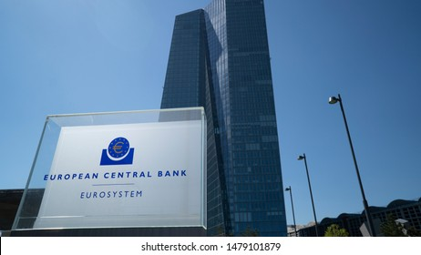 FRANKFURT, GERMANY - MAY 10, 2017: Close up of the sign at the European Central Bank in Frankfurt Germany where monetary policy for Europe and the Eurozone is made.