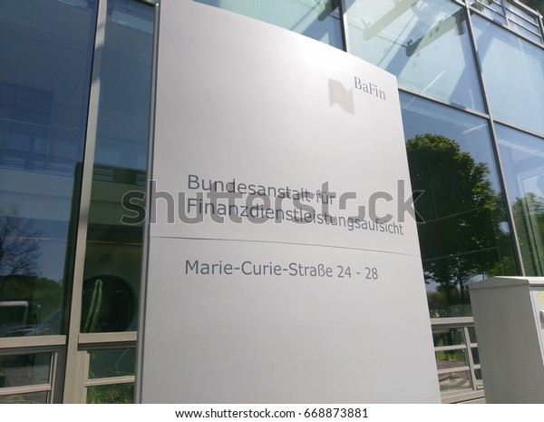 """Frankfurt, Germany - May 10th, 2017; The sign of the """"Bafin"""", the german financial supervision. The sign is located in front of the headquarter in Frankfurt."""