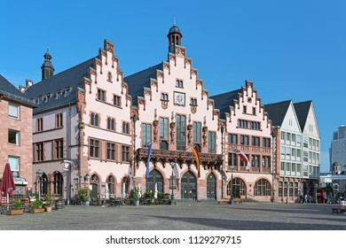 FRANKFURT, GERMANY - MAY 11, 2018: The famous eastern facade of Romer. The Romer is a medieval building and one of the city's most important landmarks. It has been the city hall for over 600 years.