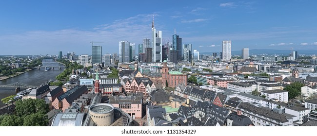 FRANKFURT, GERMANY - MAY 11, 2018: Panorama of the city, view from the tower of Frankfurt Cathedral. Frankfurt am Main is a global hub for commerce, culture, education, tourism and transportation.