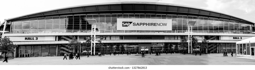 FRANKFURT, GERMANY - MAY 17, 2010: People at entrance to SAPPHIRE conference of SAP company in Messe Frankfurt, Germany on May 17, 2010.