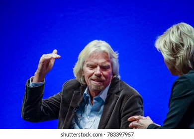 FRANKFURT, GERMANY - MAY 17, 2010: Richard Branson, Founder and President of Virgin Group, answering to SAP moderator in his keynote at SAPPHIRE conference of SAP company MAY 17, 2010