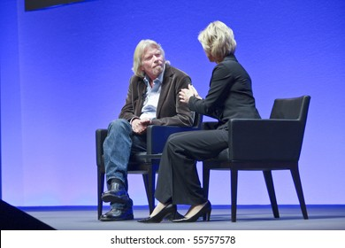 FRANKFURT, GERMANY - MAY 17: Richard Branson, Founder and President of Virgin Group, answering to SAP moderator in his keynote at SAPPHIRE conference of SAP company MAY 17, 2010 in Frankfurt