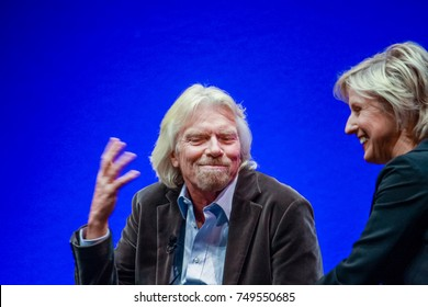 FRANKFURT, GERMANY - MAY 17: Richard Branson, Founder and President of Virgin Group, answering to SAP moderator in his keynote at SAPPHIRE conference of SAP company MAY 17, 2010