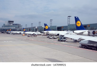 FRANKFURT, GERMANY - MAY 19: Aircrafts standing near the terminal 1 at Frankfurt/Main airport on May 19, 2013. It`s a one of the busiest airport in Europe.