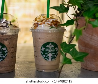 Frankfurt, Germany - May, 25th 2019:A Photo of Starbucks Frappucinos.