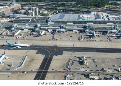 FRANKFURT, GERMANY - MAY 5: aerial of airport on May 5, 2014 in Frankfurt Germany. The new runway opened in APR 2012 and causes a lot of polictical discussion because of heravy noise.