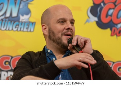 FRANKFURT, GERMANY - MAY 6th 2018: Tobias Müller (*1979, voice actor, german voice of Jonah Hill, Michael Pena) at German Comic Con Frankfurt, a two day fan convention