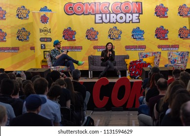 FRANKFURT, GERMANY - MAY 6th 2018: Aimee Garcia (*1978, american actress - Lucifer, Dexter, Rush Hour, RoboCop, George Lopez, Vegas) at German Comic Con Frankfurt, a two day fan convention