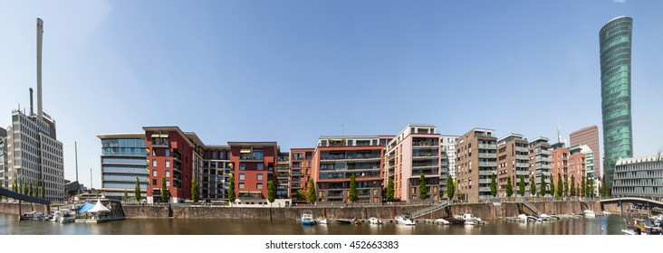 FRANKFURT, GERMANY - MAY 8, 2016: Westhafen tower in the harbor area in Frankfurt, Germany. The West harbor Tower won the Martin-Elsaesser-plate in 2004 due to his unique architecture.