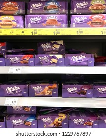Frankfurt, Germany - Nov, 2018. Milka chocolate on shelf supermarket.