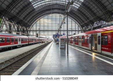 FRANKFURT, GERMANY - NOV 4, 2016: people arrive and depart at Frankfurt train station. The classicistic train station opened in 1899 and is the biggest in Germany.