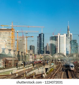 FRANKFURT, GERMANY - NOV 7, 2018: scenic view to Frankfurt main train station with skyline. The historic train Station was inaugurated in 1888 and is  nowadays the biggest train station in Germany.