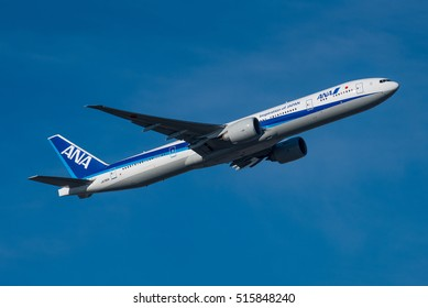 FRANKFURT / GERMANY - NOVEMBER 2016 All Nippon Airways Boeing 777-381(ER), JA790A, cn 60136 / 1283 shortly after take-off from runway 25C on its way to Tokyo Haneda.