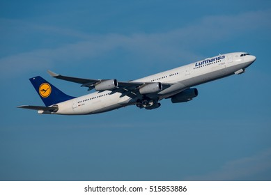 FRANKFURT / GERMANY - NOVEMBER 2016 Lufthansa Airbus A340-313, D-AIGO, cn 233 shortly after take-off from runway 25C on its way to Dallas Ft.Worth (DFW).