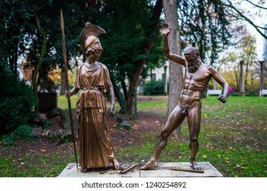 Frankfurt, Germany - November 25, 2018: Bronze statues at the Liebieghaus.