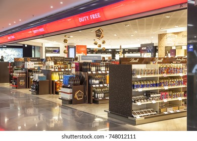 Frankfurt, Germany - Oct 10, 2017: Duty Free shop inside of the Terminal I at the Frankfurt International Airport