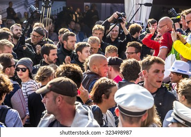 FRANKFURT, GERMANY - OCT 3, 2015: People demonstrate against the celebration of 25th German unity day in Frankfurt, Germany.