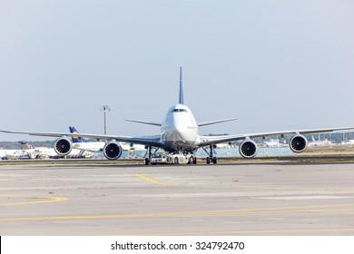 FRANKFURT, GERMANY - OCT 3: Lufthansa Boeing 747 at the runway of the Frankfurt Airport. October 3, 2015 in Frankfurt Main, Germany